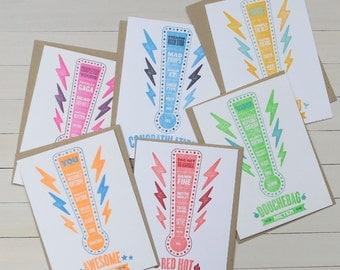 fun meter letterpress card set