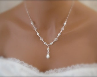Bridal Necklace, Wedding Jewelry, Pearl and Crystal Necklace, Wedding Necklace, Bridal Jewelry