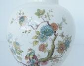 Antique Mason's Patent Ironstone Ginger Jar Vase  Floral Peacock Woodland England Porcelain