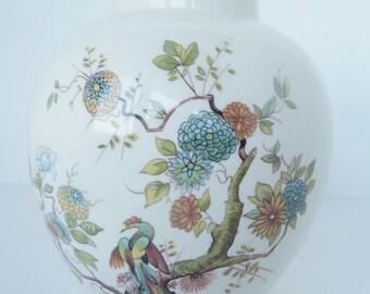 Clearance - Antique Mason's Patent Ironstone Ginger Jar Vase  Floral Peacock Woodland England Porcelain