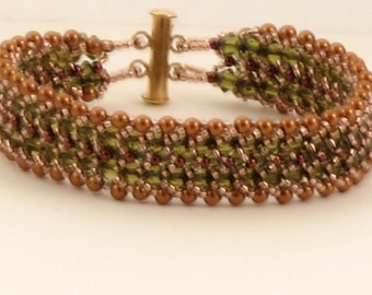 Khaki and Copper Crystal Pearl Woven Bracelet - 6.75 inches