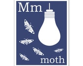 Children's Wall Art / Nursery Decor M is for Moth 8x10 inch print by Finny and Zook