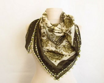 Square Turkish beaded scarf - green scarf - cotton scarves - beaded scarves