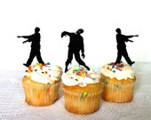 Zombie Cupcake Toppers Set of 3 Halloween Cupcake Toppers Zombie Apocalypse Cupcake Toppers Silhouette Zombies Cupcake Toppers Zombie Party - CreativeButterflyXOX