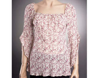 SHEER Floral BLOUSE, Summer Blouse, Sheer Blouse, Women blouse, Sexy Blouse,Thin and comfy