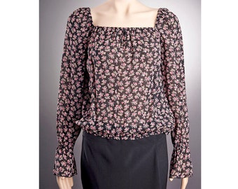 2 STYLES Sheer BLOUSE US size 4-14 with beautiful pattern