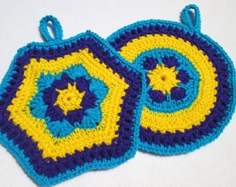 Crochet Pot Holders Set of Two Purple Yellow and Turquoise, Kitchen Decor, Hot Pads in Bright Colors, Ready to Ship