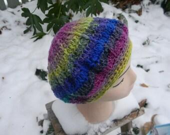Crocheted Beanie in Vibrant Silk Blend Noro Yarn
