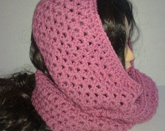 Pink Crochet Cowl, Infinity Scarf, Circle Scarf, Round Scarf