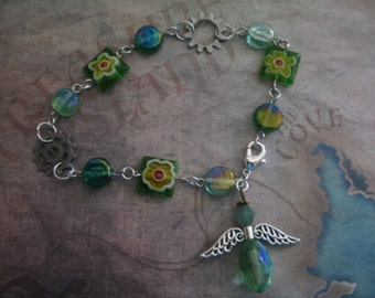 Gears and Angel Chain Bracelet with Green Glass Beads with handmade card