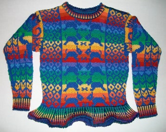 Knitting Pattern: Rainbow Animals Peplum Size Five Years