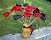 Bow on a stick  or Bow Ties--Table Top Decoration with Case IH Colors, Photo Props, Table Decor, Tractor, Red, Black, Case IH,