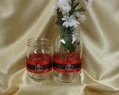 10 Mason Jar Wraps for Wedding Reception or Special Occasion, Glass Wraps, Case IH, Tractor, Table Decor, Head Table, Wraps, Red, Black,
