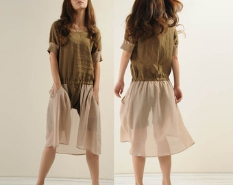 cotton linen pants with a backswing Siamese Shorts