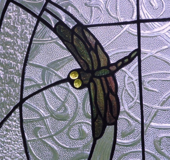 Dragonfly suncatcher stained glass panel modern contemporary decorative art summer home decor