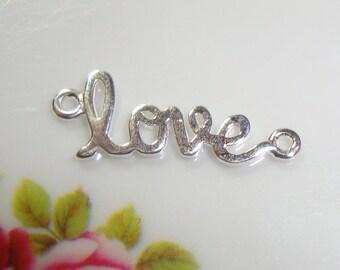 Sale, 8% off 10 pcs, LOVE, Artsy Love, Sideways Love, Sterling Silver Love Connector, Link, Pendant - sale - PC-0001