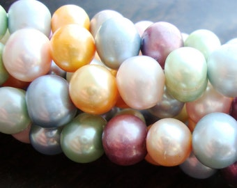 "Genuine Off Round Fresh Water Pearls, Easter multi Color Freshwater Pearl, 16"" Strand, 8-9mm, 30% off sale"
