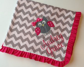 Personalized Baby Blanket-Ruffled Baby Blanket- Chevron Blanket- Applique Baby Blanket- Minky Blanket
