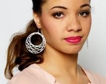 Net Hoop Earrings -- Large Hoop Earrings -- Silver Hoop Earrings -- Matte Silver Earrings