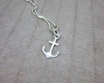 Anchor Charm Necklace -- Silver Anchor Necklace -- Sailor Necklace -- Sterling Nautical Necklace -- Sterling Anchor Necklace -Anchor Pendant