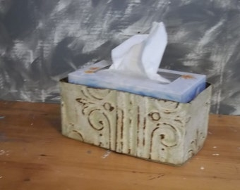 a little rusty in Dirty Grey tissue holder made from old ceiling tin
