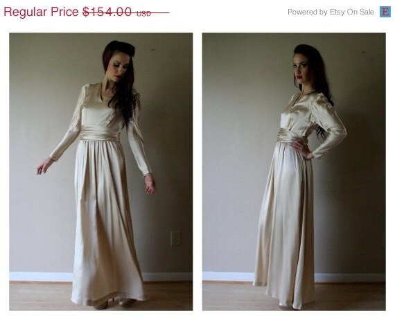 SALE Wedding Dress / 80s Does 40s Dress / Couture / Champagne Dreams / Nude Silks / Size Small Mother of the Bride Dress