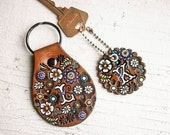 Custom initial leather key fob - Floral Pattern Bag tag - hand painted and hand stamped - Your Choice of Keychain Shape