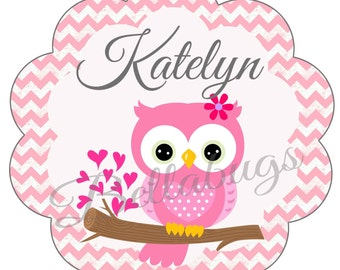 Pink Chevron Owl PRINTABLE Digital Iron-On Transfer Design - Personalized - DIY - Do It Yourself