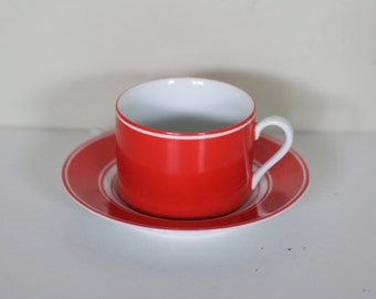 vintage fitz and floyd cup and saucer rondelet rouge pattern