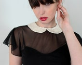 Peter pan collar dress - black babydoll with empire waist and sheer sleeves, 90's soft grunge vintage style dress - small