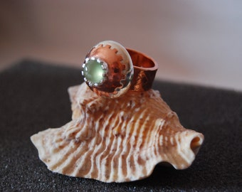 Industrial prehnite copper and sterling silver ring, 7 1/2