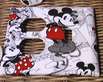 Retro Mickey Mouse Disney Combo Outlet & Toggle or Toggle and Toggle or Outlet and outlet Light Switch Cover Plate