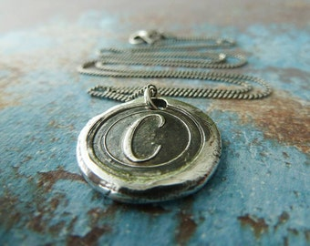 Silver Letter Initial Necklace. Wax Seal Personalized Jewelry. Regency Font Fine Silver Monogram