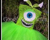 LITTLE GREEN MONSTER Monsters Inc Inspired Tutu Dress with Ear Clippies - Small Up to 12/18 mos