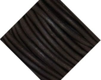 5 Meters Natural Dark Brown Leather Cord 2mm Round DBLC-5