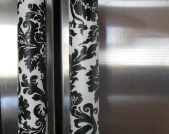 Refrigerator Handle Covers- Vinyl Black and White Damask