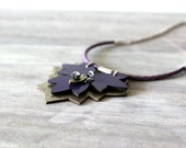 Indigo Patent Leather Necklace With a Rose Gold Leaf