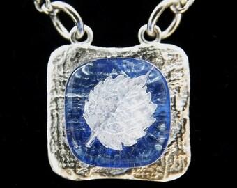 Mini Fine Silver Light Blue Fused Glass Leaf Necklace