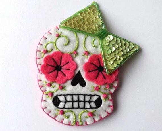 Day of the Dead Sugar Skull Bow Brooch