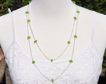 Sea Glass Jewelry Beach Necklace Forty Eight Inch Eternity in Lime Green 4315C