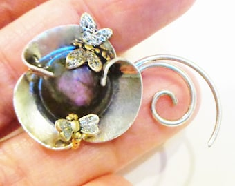 PS, HUGE SALE, Rare Purple Labradorite Antique Hand Crafted Sterling Silver Flower Brooch