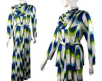 Vintage 1970s 3 Piece Op Art Print Pant Suit, Palazzo Pants, Blouse and Sash Medium psychedelic