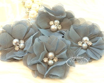 NEW: 4 pcs Aubrey MEDIUM GREY - Soft Chiffon with pearls and rhinestones Mesh Layered Small Fabric Flowers, Hair accessories