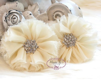"3"" Adeila Collection IVORY Champagne Shabby Frayed  Chiffon Ruffle Flowers with Rhinestone,applique , hair accessories"