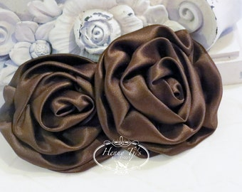 """2 pcs: 3"""" Chocolate Brown Adorable Rolled Satin Rose Rosettes Fabric flowers Appliques"""