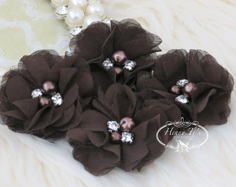 NEW: 4 pcs Aubrey DARK BROWN - Soft Chiffon with pearls and rhinestones Mesh Layered Small Fabric Flowers, Hair accessories