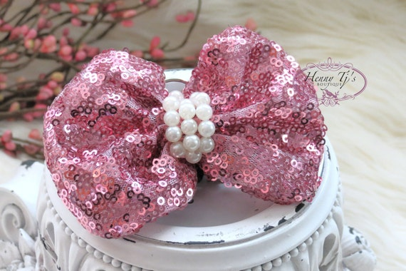 The Evaria - 2 pcs PINK Sequin Bow Knot with pearls center for Bridal Sashes, Fascinator Baby Bow or Hat Design Appliques. Photography Prop