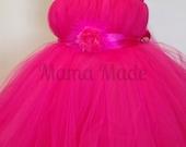 SHIN LENGTH Fuchsia Flower Girl Tutu Dress with flower/fluff Tea Length Tutu Dress newborn 3 mo 6 mo 9 mo 12 mo 18 mo 2t 3t 4t 5 6 8 10 12