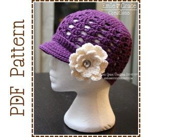 Newsboy Hat Crochet Pattern - HEATHER Adult - 505