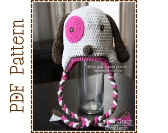 Puppy Ear Flap Hat Crochet Pattern, 8 Sizes from Newborn to Adult, LOGAN and LOLA  - pdf 112